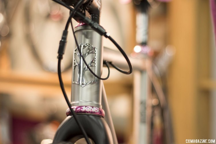 Mosaic Cycles' Aaron Barstock brought his wife's titanium XT1 cyclocross bike, with internal wires and brake lines, NAHBS 2015 © Cyclocross Magazine