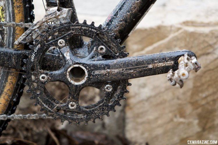 Gunsalus' bike had an FSA Crankarm paired with All-City chainrings, and rode with a tighter gearing than the typical stock 46/36. © Cyclocross Magazine