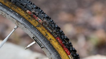 Challenge Limus 33 tires were a popular choice when the week got muddy, and were paired on Gunsalus' Mavic Ksyrium SL Tubular wheels. © Cyclocross Magazine
