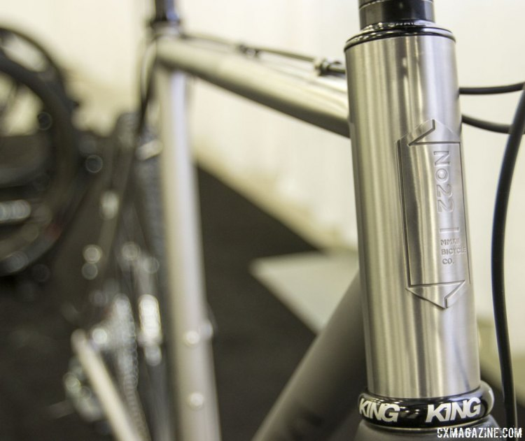 New York-based No. 22 Bike's Broken Arrow titanium cyclocross bike featured a highly polished 44mm head tube. NAHBS 2015. © Cyclocross Magazine
