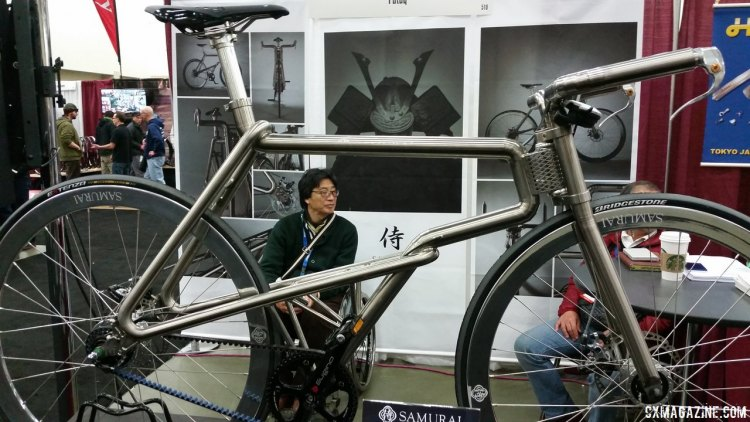 Samurai is a new bike brand from Japan, selling these $12,000 titanium framesets. Complete bikes retail for $17,000, and will start selling this summer. NAHBS 2015. © Cyclocross Magazine