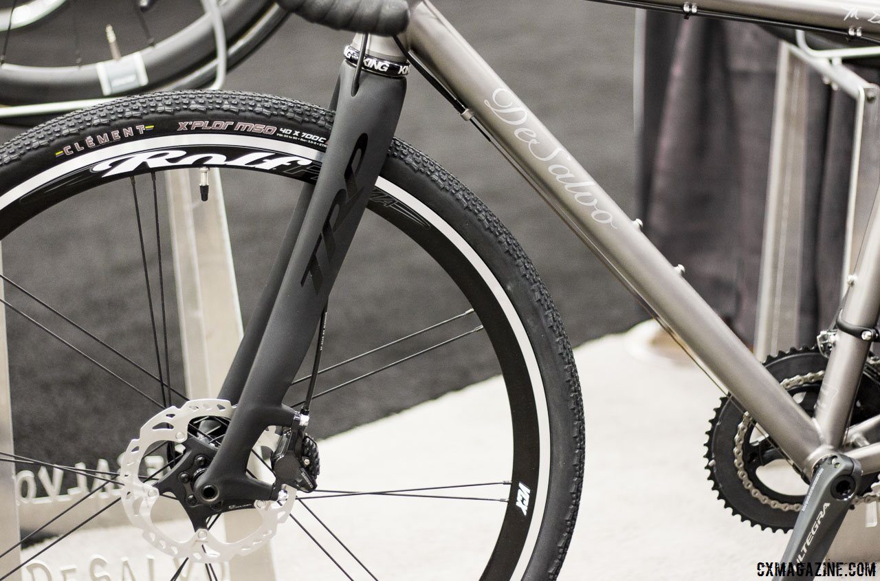 trps-carbon-disc-brake-thru-axle-cyclocross-fork-on-desalvos-titanium-gravel-bike-as-seen-at-nahbs-2015-in-louisville-cyclocross-magazine