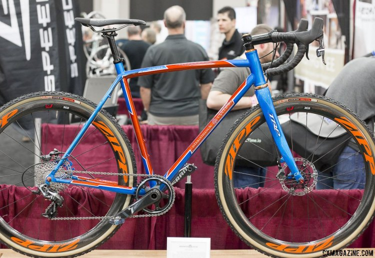 TRP's carbon disc brake thru-axle cyclocross fork, as seen on this Shamrock cyclocross bike at NAHBS 2015 in Louisville. © Cyclocross Magazine