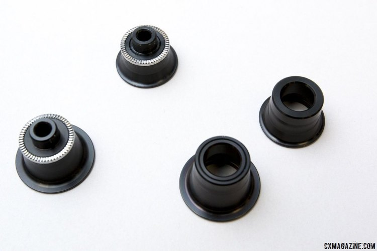 Zipp's new 77/177 hubs feature easily-removeable end caps to accept 12mm (rear) and 15mm (front) thru axles. © Cyclocross Magazine
