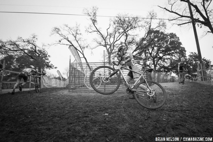 Gage Hecht (Alpha Bicycle Co - Vista Subaru) tore through the Junior field but did not impact the trees, says USA Cycling's report. © Brian Nelson