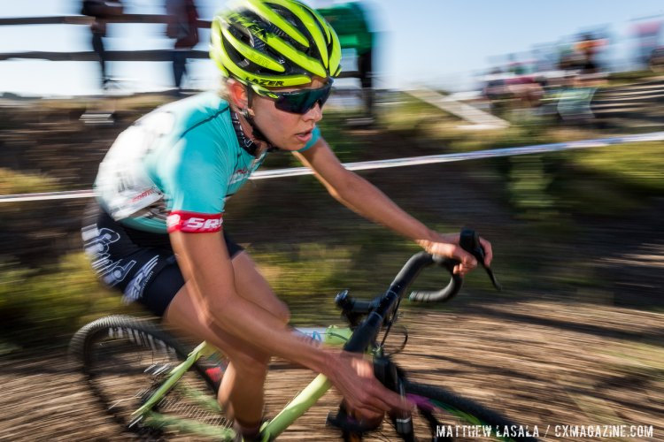 Emily Kachorek of Squid Bikes rode on for a fifth place today. © Matthew Lasala / Cyclocross Magazine