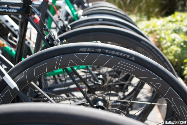 The editors had all their bikes equipped with Easton EC90 SL carbon tubeless wheelsets in various brake configurations. © Cyclocross Magazine