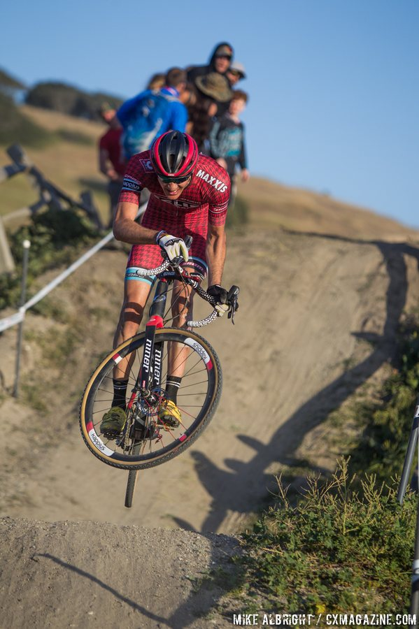 Brady Kappius (Clif Bar) airs it out at the 2015 Sea Otter Cyclocross Race. © Mike Albright / Cyclocross Magazine