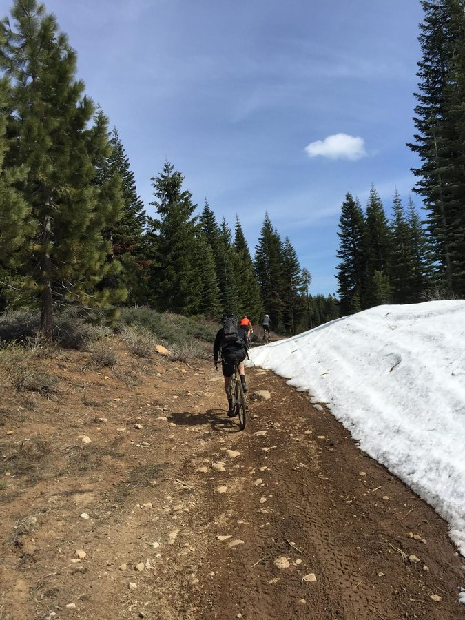 The snow is only beginning to melt north of Lake Tahoe, and should yield open roads by race day. Photo by Sierra Buttes Trail Stewardship