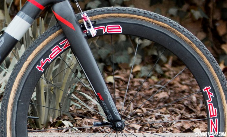 Curley's front tire was a custom paired 32mm Dugast casing and non-Dugast tread on the front, while the rear was a standard Typhoon. © Cyclocross Magazine