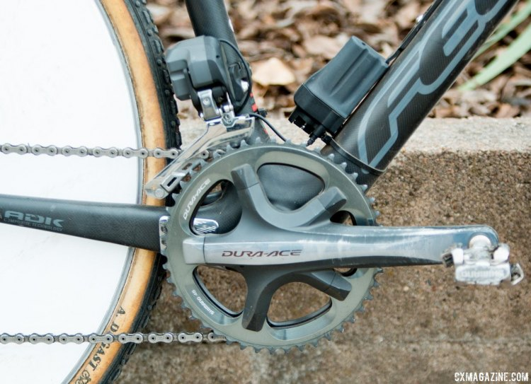 Paul Curley used 7900 Dura-Ace 130 BCD crankset, paired with matching Dura-Ace 46/39 chainrings. © Cyclocross Magazine