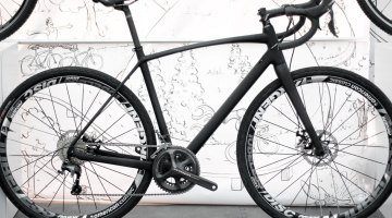 Raleigh's Roker carbon gravel bike unveiled officially at Sea Otter 2015. Shown with 50/34 gearing, but a 46/36 chainring combo and 11-32 cassette are likely to be on the production bike. TRP Spyre dual piston mechanical disc brakes. © Cyclocross Magazine