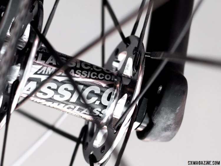 Raleigh's Roker carbon gravel bike's fork offers fender mounts as well. American Classic's Argent Disc wheels will offer owners tubeless compatibility. Sea Otter 2015. © Cyclocross Magazine