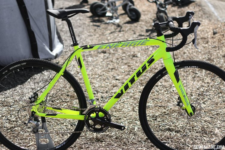 Online retailer ChainReaction owns the Vitus name, and the Tiagra-equpped Energie aluminum cyclocross bikes are hard to miss with the neon paint. About $1200, and not the glued-and-screwed Vitus from years ago. Sea Otter 2015. © Cyclocross Magazine