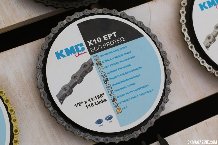 KMC backs the Providence Cyclocross Festival, and may have the perfect chain for cyclocrossers. The EPT (Eco Proteq) coating on all chain components eliminates rust. Available in 8, 9, 10 and 11 speed sizes. Sea Otter Classic 2015. © Cyclocross Magazine