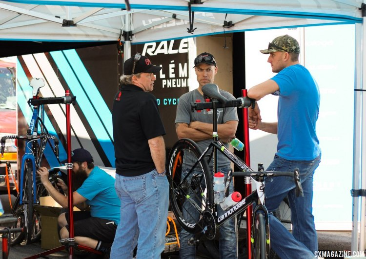 A power meeting of cyclocross influencers. Clement's Donn Kellogg, Johs Huseby, and Ryan Trebon. Sea Otter Classic 2015. © Cyclocross Magazine