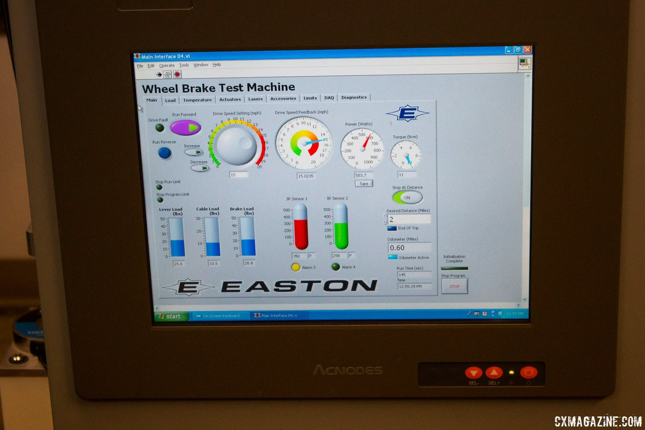 easton-braking-and-heat-resistance-test-of-carbon-rims-the-red-and-green-sensors-measure-the-rims-temperature-the-test-runs-for-an-equivalent-of-two-miles-braking-while-applying-600-watts-or-until-failure-cyclocross-magazine