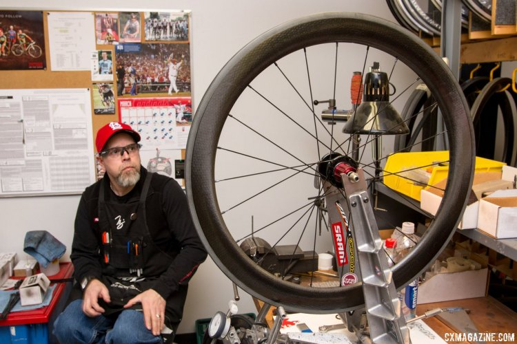 Zipp's master wheel builder Nic James personally builds many of the wheels the pros use. © Cyclocross Magazine