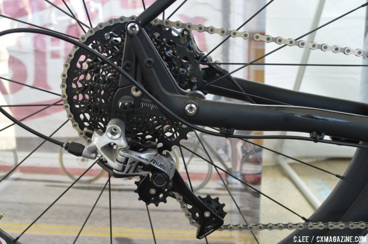 SRAM's Rival1 long cage rear derailleur can handle the large 10-42t cassette. © Clifford Lee/Cyclocross Magazine