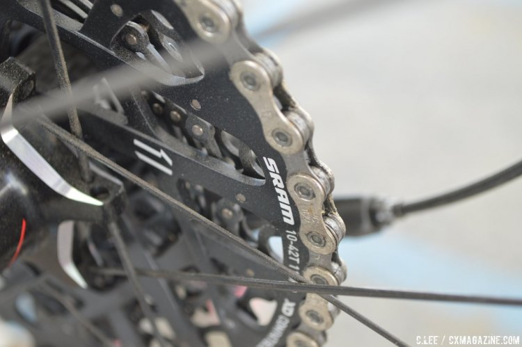 SRAM offers a comparable range with their singlering systems, although using the larger cassettes won't mean a significant weight reduction from the double chainring system. © Clifford Lee/Cyclocross Magazine