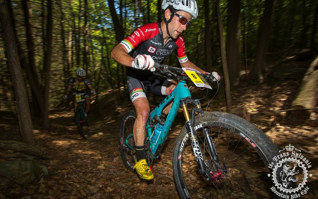Justin Lindine (Competitive Cyclist) revs up at the NoTubes Trans-Sylvania Epic to take the lead in overall standings. Photo by Trans-Sylvania Epic Media Team.