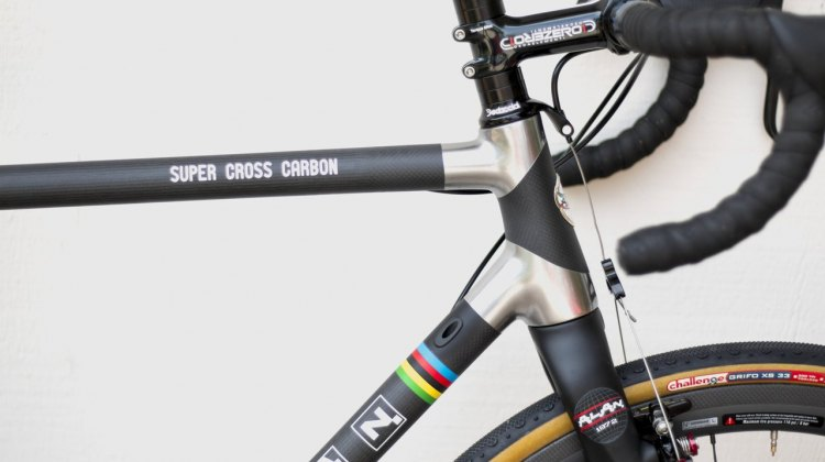 The Alan Super Cross carbon cyclocross bike is ready for internal cable routing, and offers a taperered head tube and steerer. © Cyclocross Magazine