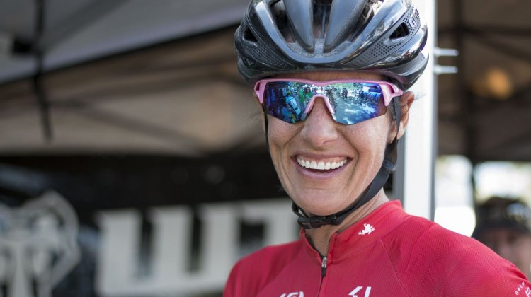 Nicole Duke is all smiles after having some time to enjoy the scenery of the Sierra Buttes. Duke is focused on advocacy and development nowadays, but may still toe the line at select UCI races this fall. 2015 Lost and Found gravel race. © Cyclocross Magazine