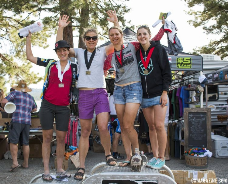 The four-place women's pro podium, left to right: Steers, Drumm, Farina, Gomez Villafane. 2015 Lost and Found gravel race. © Cyclocross Magazine