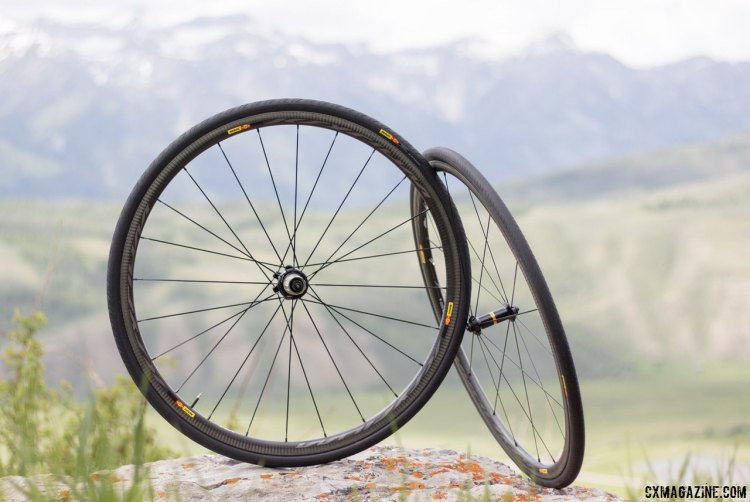 Mavic's new Ksyrium Pro Carbon SL road wheels, come in clincher and tubular format, disc or rim brake, with either Yksion 25mm clinchers or tubulars. © Cyclocross Magazine