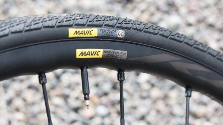 Mavic's new Ksyrium Pro Disc Allroad wheel tire system is ready for gravel, even though Mavic doesn't love to use that term. We tested the system at less tha 60 psi on 100k of rough gravel roads, with no burps or punctures. © Cyclocross Magazine