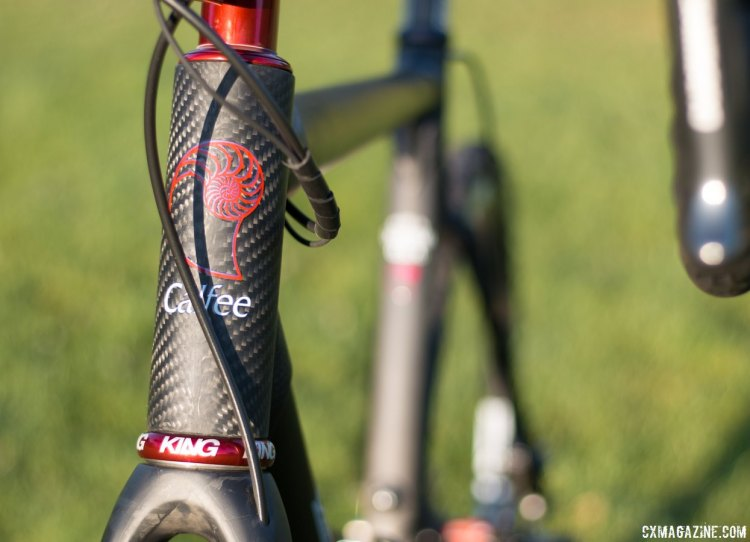 Calfee's 44mm head tube accomodates tapered steerers of modern disc forks. Calfee Manta CX soft tail. © Cyclocross Magazine