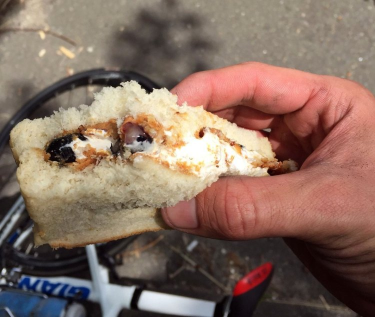 Marshmallow fluff, peanut butter, blueberries, and bacon might sound like something only a five-year-old would concoct, but it was the perfect fuel halfway through the ride. © Andrew Reimann