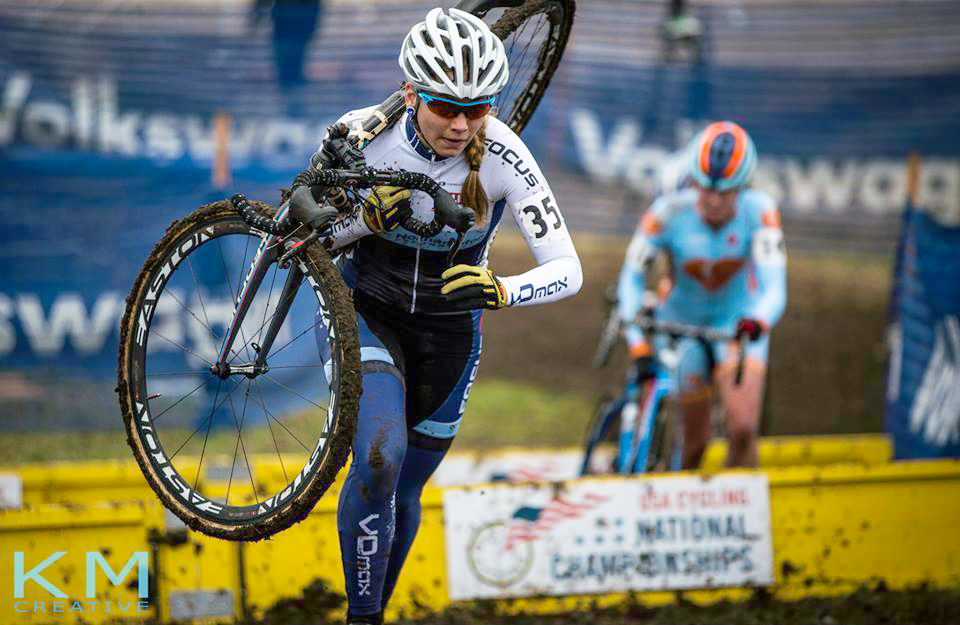 Rebecca Fahringer placed 15th at the elite U.S. cyclocross championships in her second nationals outing. (Photo by KM Create)