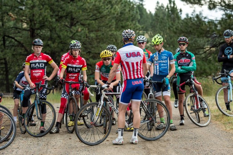 Mid-morning cyclocross-specific training begins with a breakdown of skills followed by ample practice/drills. © Tom Robertson