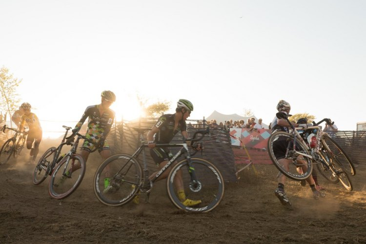 Racers run tough corners on this classic New England cyclo-cross course. Photo: Todd Prekaski