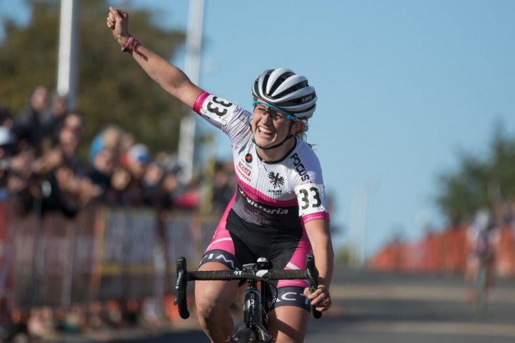 Ellen Noble, pleased with her result, moves into the Series U23 lead. Photo by Todd Prekaski