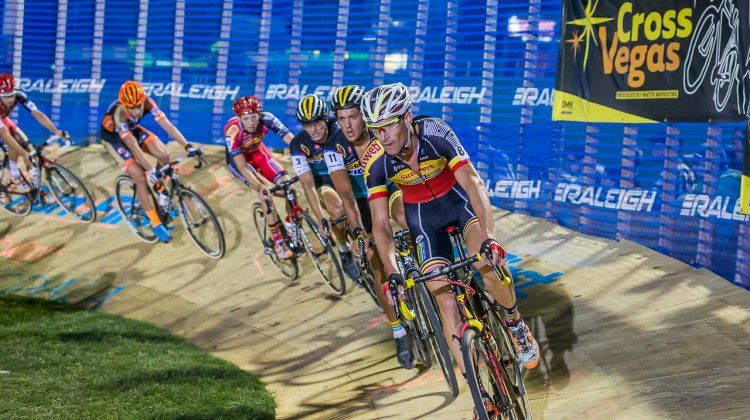 Belgian National Champion Klaas Vantornout led the group around the manmade objects at CrossVegas. © Matthew Lasala / Cyclocross Magazine