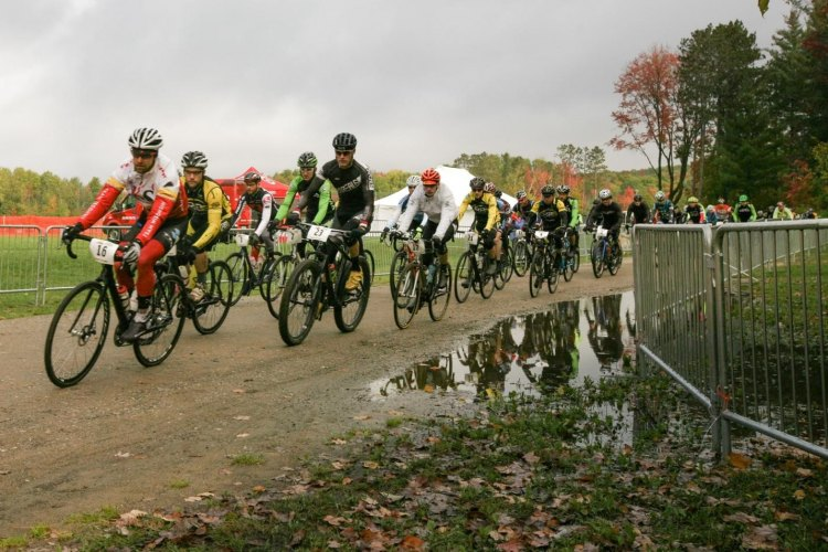 The start of the race, with three options to choose from. Photo from Michigan Mountain Mayhem Gravel Grinder