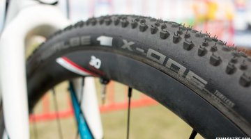 Schwalbe's X-One tubeless cyclocross tire, as see on Adam Craig's CrossVegas cyclocross bike. © Cyclocross Magazine
