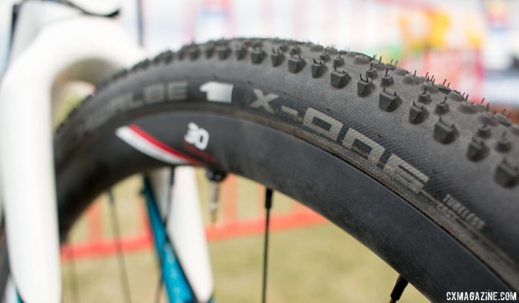 Schwalbe's X-One tubeless cyclocross tire, as seen on Adam Craig's CrossVegas cyclocross bike. © Cyclocross Magazine