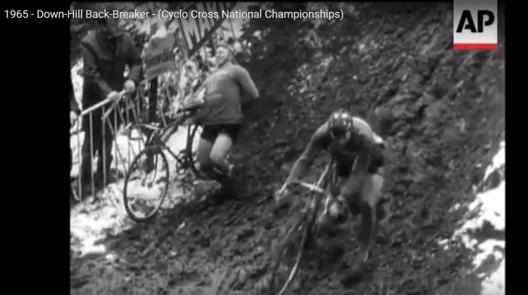 The back-breaking 1965 Cyclocross National Championships in Belgium. photo: AP Video screenshot