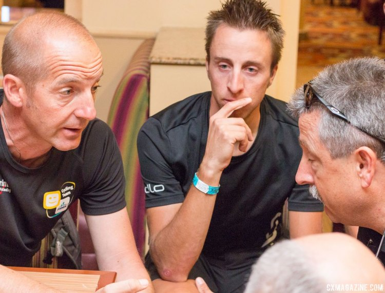 Chatting with the Telenet-Fidea cyclocross team in Vegas. © Cyclocross Magazine