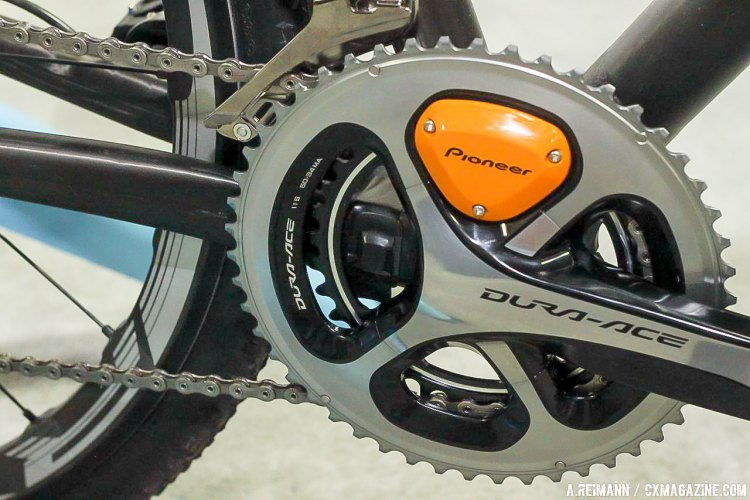 Pioneer had a few of their compact road-sized cranks decorating the Parlee cyclocross bikes. They are a sponsor of the Maxxis Shimano Cyclocross team. © Andrew Reimann / Cyclocross Magazine
