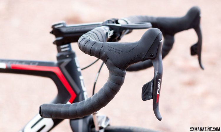 SRAM RED eTAP electronic / wireless shifters / brake levers look similar to a DoubleTap lever and feel similar. © Cyclocross Magazine
