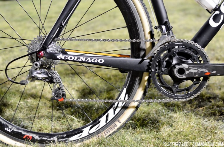Wout van Aert's 2015 CrossVegas-winning Colnago Prestige cyclocross bike was one of the rare SRAM-sponsored rider's bike that did not feature SRAM Force 1 and instead had two chainrings. © Cyclocross Magazine