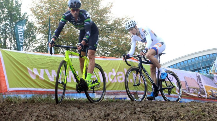Sven Nys and Wout Van Aert had a hard fought battle for second place, with Van Aert coming out on top after a late-race bobble by Nys © Bart Hazen