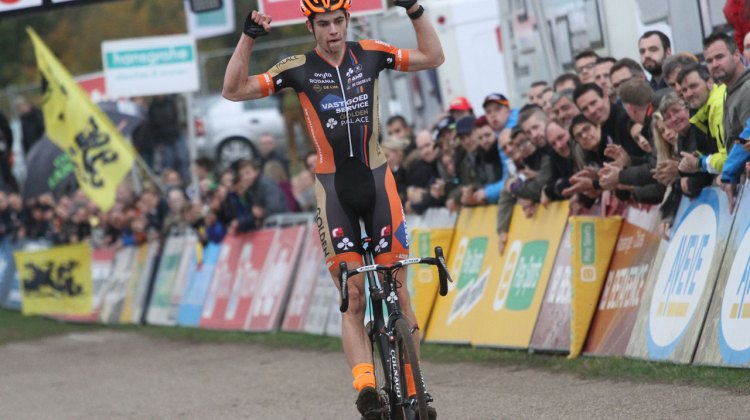 Wout van Aert wins at Superprestige Zonhoven in commanding fashion. © Bart Hazen