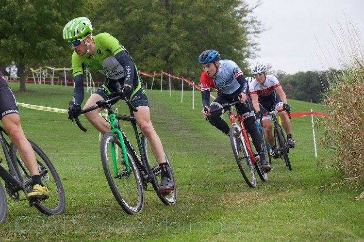 Isaac Neff (Madison, WI), David Lombardo (Crystal Lake, IL), and Dan Teaters (Green Bay, WI) took a commanding lead in the Men's 1/2/3 with (not pictured) David Reyes (Chicago, IL) and Michael Dutczak (Crete, IL)