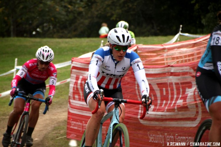 Compton kept the leader's gap small at the KMC Cyclo-Cross Festival, Day Two. © Andrew Reimann / Cyclocross Magazine