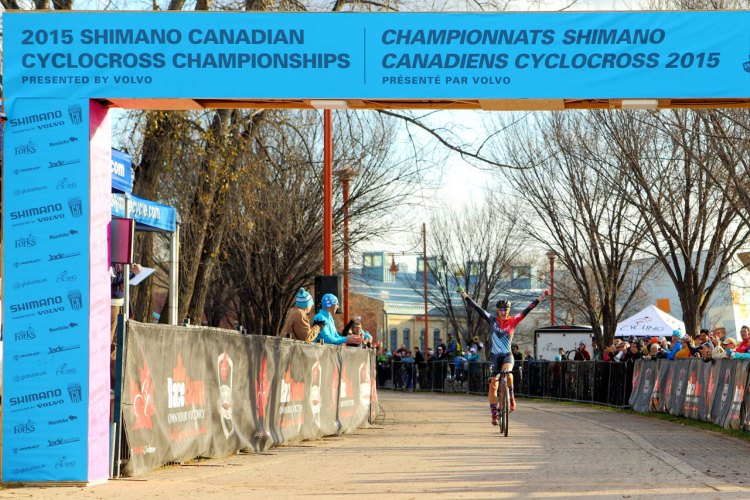 Mical Dyck (Naked Factory Racing p/b Broad Street Cycles) takes the win at the 2015 Canadian Cyclocross National Championships. Mical Dyck (Naked Factory Racing p/b Broad Street Cycles) takes the win at the 2015 Canadian Cyclocross National Championships. © Randy Lewis/lewisimages